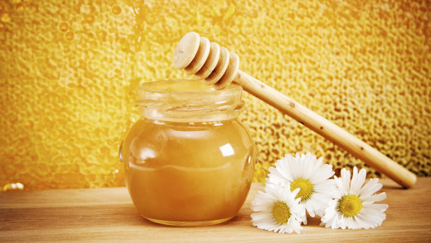 jar of honey on the background honeycombs