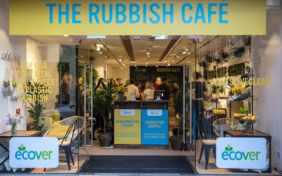 Jeff Moore   Ecover's Rubbish Café in London: a two-day pop-up café experience with a twist – you can only enter if you 'pay' with recyclable plastic rubbish. The café is kitted out with upcycled décor and will be serving a delicious zero-waste menu.  The café is open to the public 3 & 4th May, 8am – 4pm at 25 Long Acre, Covent Garden. ecover.com/rubbishcafe