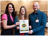 Becky Sherwood and Jon Inder from Greenlife with journalist Lucy Siegle collecting Fair Trade award By Jon Craig