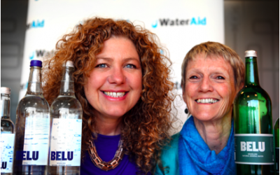 Photo: Chief executive of Belu, Karen Lynch, (left) with chief executive of WaterAid, Barbara Frost Credit: Neil Wissink