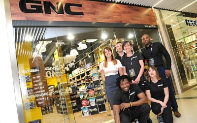 The new team outside GNC Guildford in the Friary Centre on opening day