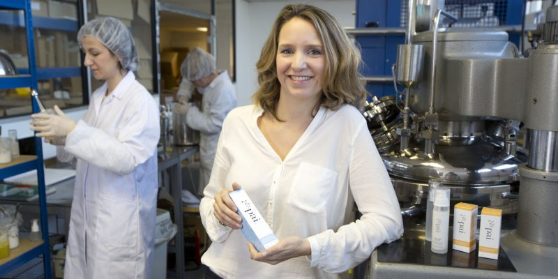 Mcc0052106 . Daily TelegraphDT BusinessSarah Brown, founder of Pai Skincare with her staff in their west London laboratory .London 17 December 2013