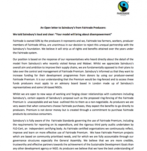 fairtrade letter