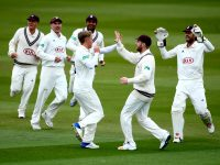 LONDON, ENGLAND - APRIL 14:  Sam Curran of Surrey celebrates with his teammates after getting the wicket of Haseeb Hameed of Lancashire during day one of the Specsavers County Championship Division One match between Surrey and Lancashire at The Kia Oval on April 14, 2017 in London, England.  (Photo by Jordan Mansfield/Getty Images)